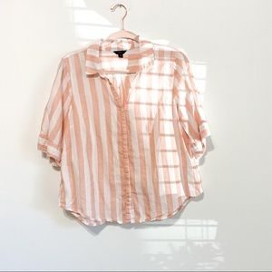 J. Crew Striped Short Sleeve Button Up Medium